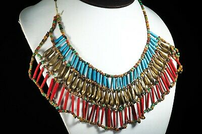 Authentic Ancient Egyptian Faience Cleopatra Glass Triple Layer Bead Necklace
