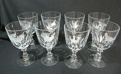 8 Quality Crystal Cut Glass Wine Glasses - Etched with Scottish Animals & Birds