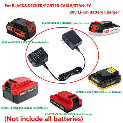 20V Lithium Battery LCS1620 Charger For BLACK+PORTER-CABLE/STANLEY LBXR20 IO
