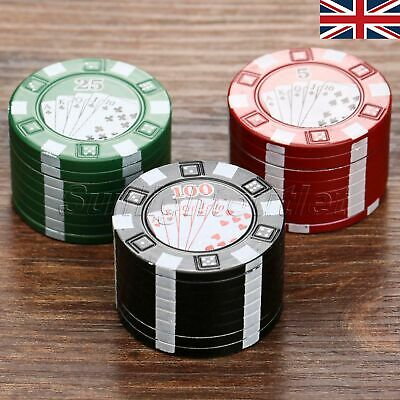 3 Layers Poker Chips Style Tobacco Herb Spices Grinder Crusher Smoking UK STOCK