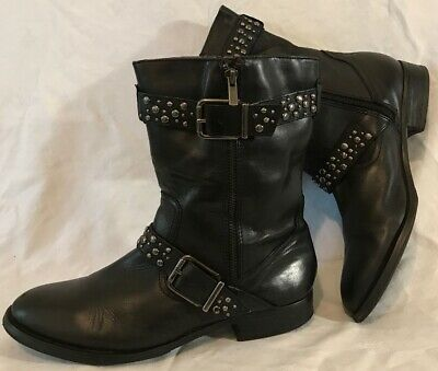 Arturo Chiang Black Mid Calf Leather Beautiful Boots Size 8Uk (411QQ)