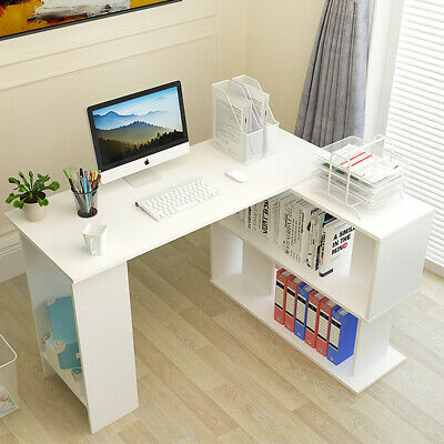 Corner Computer Desk Home 120cm L-Shaped Study Gaming Table With Shelves White
