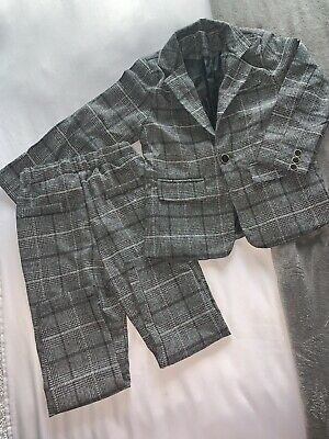 Boys Grey Checkered Two Piece Suit 4-5