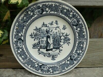 Antique Pearlware Old Hall 1861-86 Kate Greenaway Nursery Plate Dresser Interest