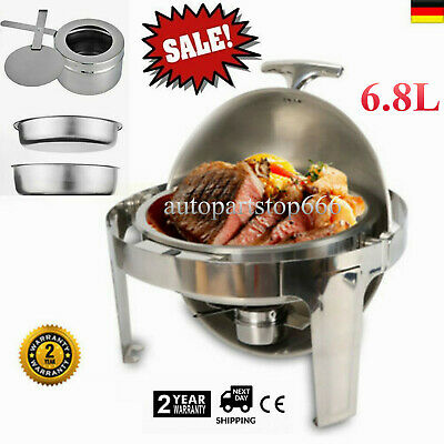 Professional Buffet Round Roll Top Chafing Dish - 6.8L Food Warmers Stainless DE