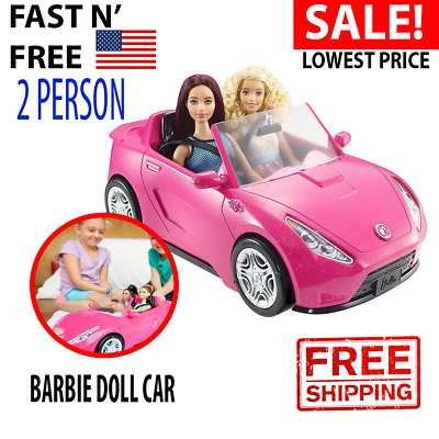 Barbie Doll Car Glam Convertible 2 Mattel Hot Seats Shine Vehicle Girls Pink New