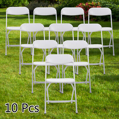 10 PCS Plastic Folding Chairs Commercial Wedding Party Chairs Stackable  White