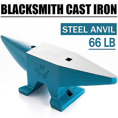 66LB Iron Anvil Extremely Rugged Cast Blacksmith Silversmith Tools Round Horn