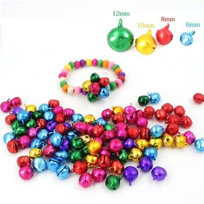 100pcs 10mm Jingle Bells Loose Beads Party Decoration Festival Jewelry Ornaments