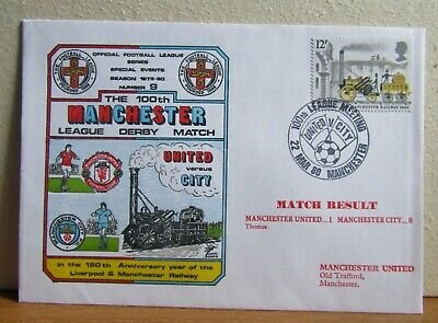 1980 Football League Collectors UK Cover - Manchester United v Manchester City