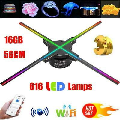 WiFi BT 3D Holographic Projector Advertising Hologram Fan 16G 616X LED Lamp 56CM