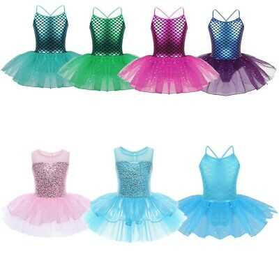 Kids Girls Mermaid Ballet Dance Costume Glitter Tutu Dress Gymnastics Leotards