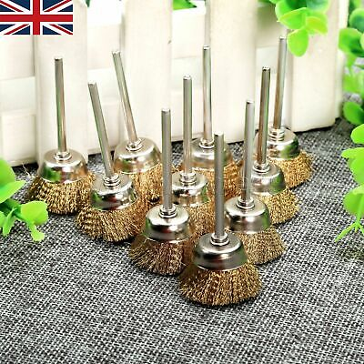 10pcs 25mm Brass Wire Brushes Bowl Wheel 3mm Shank Grinder Rotary Tool Useful