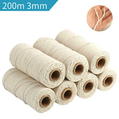 200m 3mm Natural Cotton Rope Cord String Twisted Beige Craft Macrame Artisan