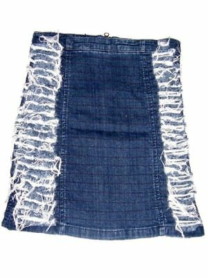 Girls Blue Distressed Denim Jeans Ripped Style  Zipped Down Skirt Ages:10-11yrs