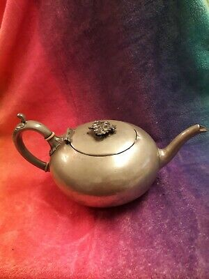 Shaw & Fisher antique teapot pewter 1800 victorian steampunk plant holder?