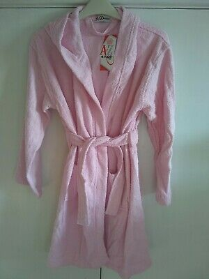 Girls Pink Dressing Gown with hood - Age 11-12 - Brand New