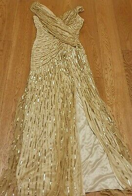 gold soft net,sequinned, stretchble,  long, size 8, party wear beautiful dress!