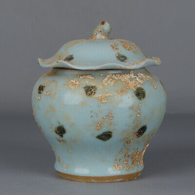Old Chinese Porcelain longquan kiln sky cyan glaze Lotus leaf Tea Caddy 7.5""