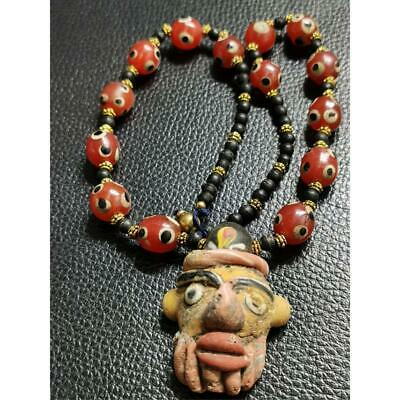 Old Wonderful Glass phoenician pendant face beads Necklace