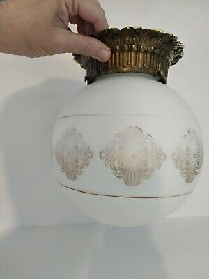 Antique vintage satin glass salvaged globe ceiling light fixture with brass base