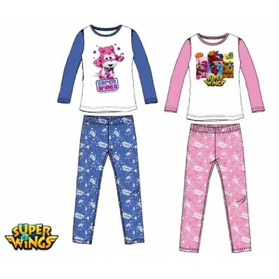 Girls Nightwear Super Wings Pink Blue Elasticated Waist Nightie Pyjamas Set 3-6y