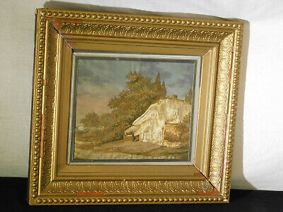 Antique Tapestry/Embroidery of House & Landscape Framed Glass Front