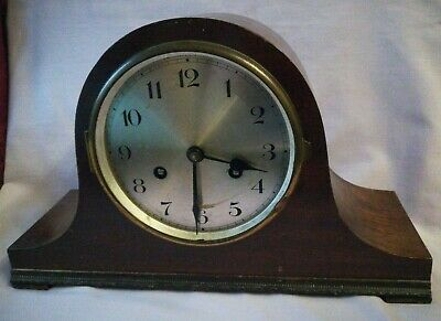 Vintage Wooden Cased 2 Train Mantle Clock - NO KEY - UNTESTED - SPARES/REPAIRS