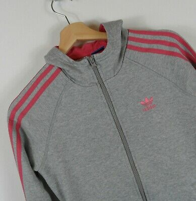 Adidas Originals Girls Grey Hooded Track jacket Size 13 - 14 Years  : A220