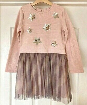 Girls Dress, Monsoon Age 12-13Years, Pink & Purple, Sequin Stars, Xmas Party