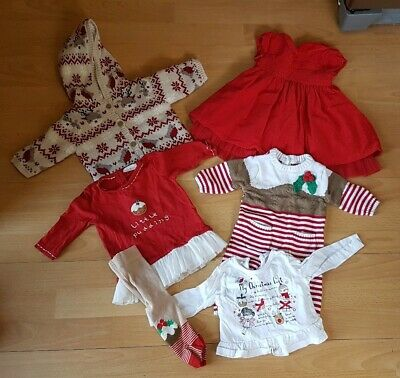 Baby Girls 0-3 Months Christmas Clothing Bundle Outfits Next Xmas Smocked Dress