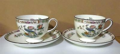 Beautiful Wedgwood Kutani Crane Set of 2 Cups & Saucers Made in England Minty