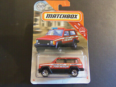 Jeep Cherokee Police Fire Rescue RED 2018 Matchbox Case H HD3