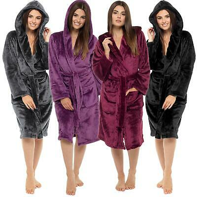 Womens Ladies Dressing Gown Hooded Shimmer Fleece Fluffy Snuggle Soft Warm Robe