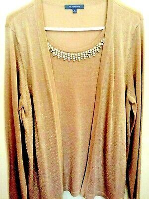 NY Collection Woman's XL Tan/Gold Metallic Layered Long Sleeved Top