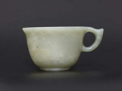 Old Antique Chinese Carved Natural Nephrite HeTian Jade Cup