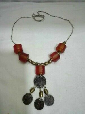 Antique Silver Coins Folklore Necklace 19th  ,with beads of copper, amber beads