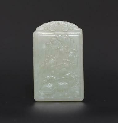 Old Antique Chinese Carved Natural Nephrite HeTian Jade Pendant with hill