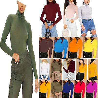 Womens Ladies Polo Neck Top Stretch Long Sleeve Turtle Neck Tee Top Jumper 8-26