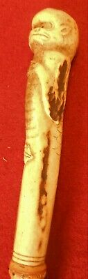 Great Antique Folk Art Walking Stick, Cane With Grotesque Figure Carved Antler