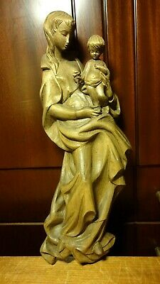"""☩ Vintage 16"""" Carved Wooden Our Lady Mary Madonna + Jesus Wall Relief Statue ☩"""