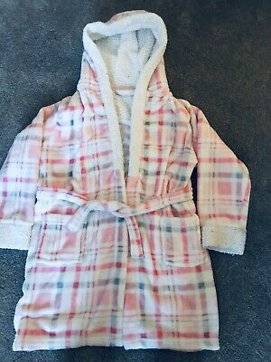 Child's dressing gown/bath robe pink hooded age 11 year