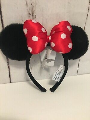 New With Tags Disney Parks Minnie Mouse Ears Youth Headband Red Polka Dot Bow