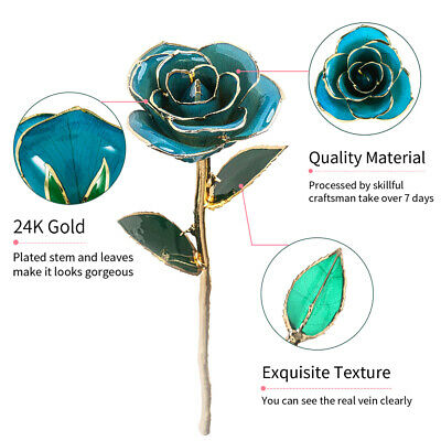 24K Gold Rose Dipped Flower Real Long Stem Valentines Day Love Gift Mother Love