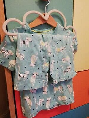 Marks And Spencer Girl Shorts nightwear PJs Aqua Blue CATS 3-4 Years