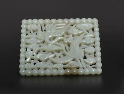 Antique Chinese Hollow Carved Natural Nephrite HeTian Jade Pendant With crane