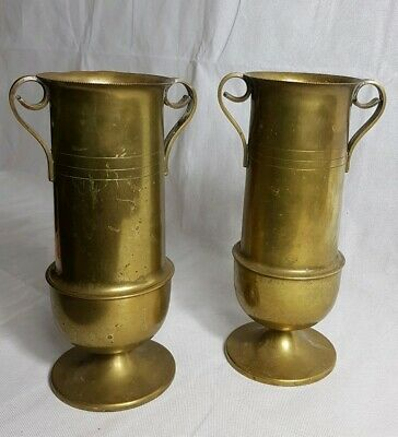 Beautiful Antique Pair of Large & Heavy Solid Brass Vases.