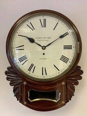 Antique James McCabe Drop Dial Fusee Wall Clock Mahogany Case