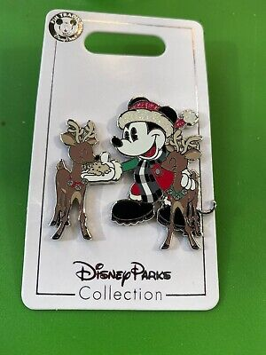 Disney Parks Yuletide Farmhouse Mickey Reindeer Holiday Pin Set New