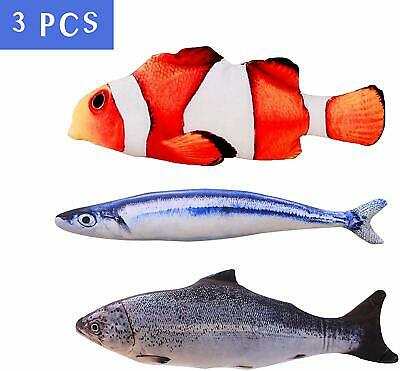 3 Pcs Realistic Interactive 8 Inch Catnip Fish For Cat Kicker Crazy Pet Toy Gift